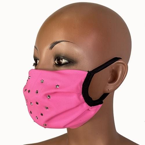 2 pc    Rhinestone  Face Mask - Folds - Lined